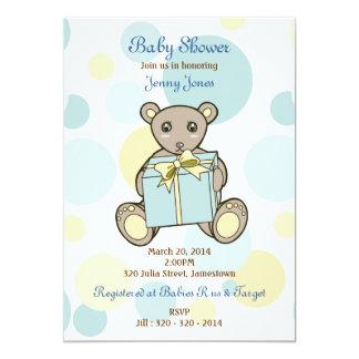 O urso de ursinho bonito caçoa o chá de fraldas do convite 12.7 x 17.78cm