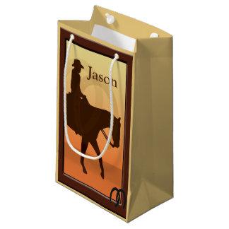 O vaqueiro e o cavalo projetam Horseback SGB Sacola Para Presentes Pequena