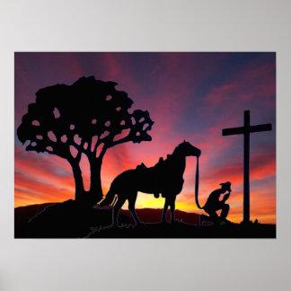 O vaqueiro no pé da arte transversal do poster