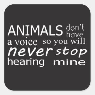 """O Vegan """"animais não tem uma voz…"""" etiquetas"""