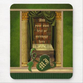 O verde clássico bonito dos livros velhos da bibli mouse pad