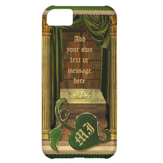 O verde clássico bonito dos livros velhos da capa para iPhone 5C