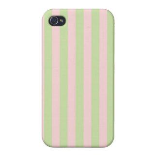 O verde do pêssego do vintage listra o teste capa iPhone 4