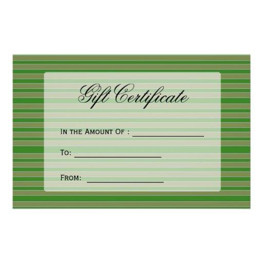 O verde listra o certificado de presente modelos de panfleto