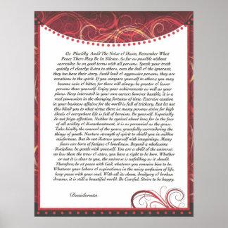 O vermelho dos DESIDERATA drapeja Posters