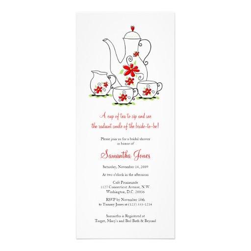 O vermelho floresce chás de panela do grupo de chá convite personalizado