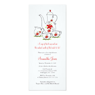 """O vermelho floresce chás de panela do grupo de chá convite 10.16"""" x 23.49cm"""