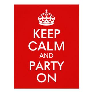 O vermelho mantem a calma e o partido no convites personalizados