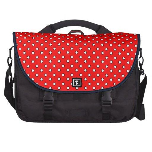 O vermelho pontilha o saco do laptop do computador maletas para laptop