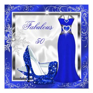 O vestido fabuloso da prata de 50 azuis marinhos convite quadrado 13.35 x 13.35cm