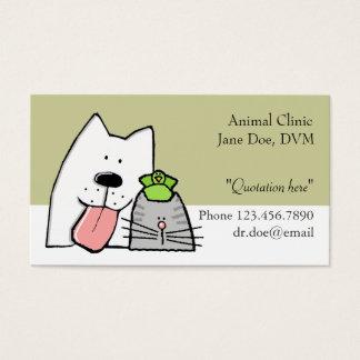 O veterinário, cuidados dos animais de estimação cartão de visita