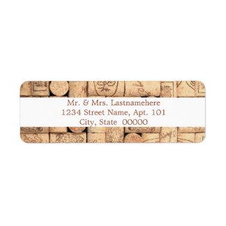 O vinho arrolha etiquetas de endereço etiqueta endereço de retorno