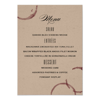 O vinho mancha o menu do casamento do vinhedo da convite 11.30 x 15.87cm