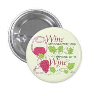 O vinho melhora com idade bóton redondo 2.54cm