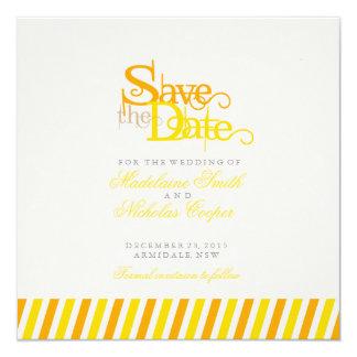O vintage branco feito sob encomenda da laranja e convite quadrado 13.35 x 13.35cm