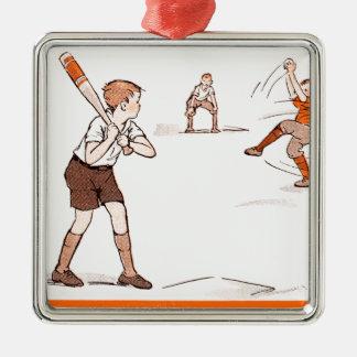 O vintage caçoa o jogo de basebol dos meninos ornamento quadrado cor prata