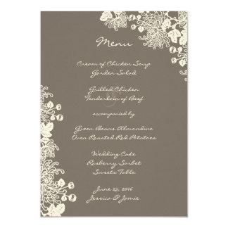 O vintage floresce o menu cinzento do casamento da convite 12.7 x 17.78cm