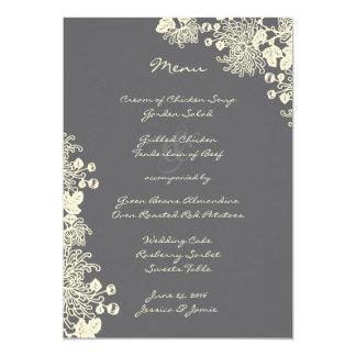 O vintage floresce o menu do casamento das cinzas convite 12.7 x 17.78cm
