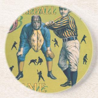 O vintage ostenta o basebol, jogadores do porta copos de arenito