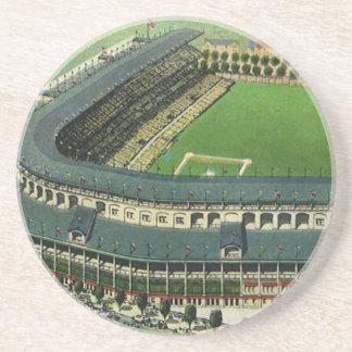 O vintage ostenta o estádio de basebol, vista porta copos de arenito