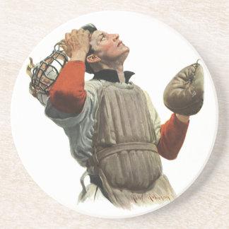 O vintage ostenta o jogador de beisebol, coletor porta copos de arenito
