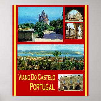 O vintage Postugal, poster de viagens, Viano faz C Pôster