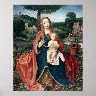 O Virgin e a criança em uma paisagem Posteres