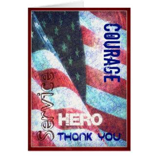 O você-Herói bem-vindo da casa/obrigado, forças Cartão