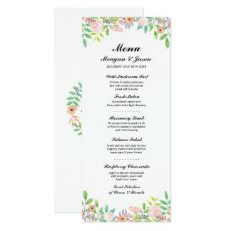 """O Watercolour da recepção de casamento do menu Convite 10.16"""" X 23.49cm"""