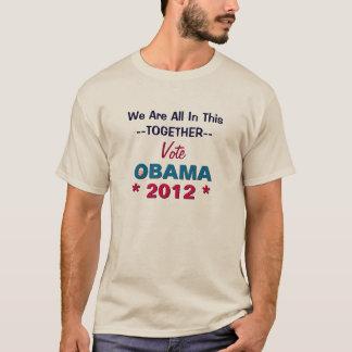 Obama 2012 todos neste TShirt junto longo da luva