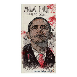 "Obama é Napoleon na fazenda ""animal "" de George Or Pôsteres"