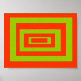 Oblongo, arte abstrata do teste padrão do retângul poster