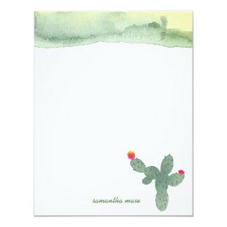 Obrigado abstrato do cacto da aguarela você cartão convite 10.79 x 13.97cm