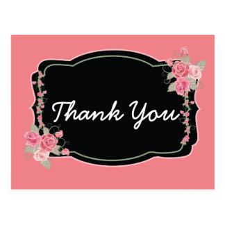 Obrigado agradavelmente do rosa e do preto você cartão postal