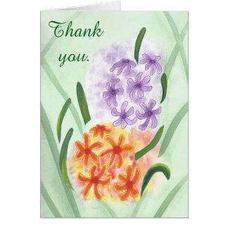 Obrigado alaranjado roxo das flores do jacinto cartão comemorativo
