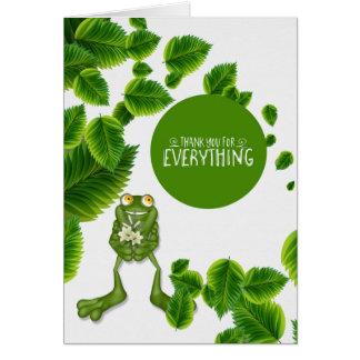 Obrigado as folhas verdes e vazio bonito do sapo cartão comemorativo