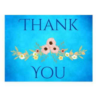 Obrigado azul bonito cartão postal