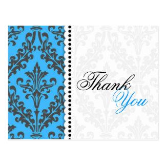 Obrigado azul do damasco você cartão cartão postal