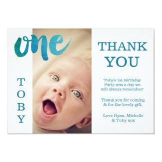 Obrigado azul do primeiro aniversario do bebé você convite 11.30 x 15.87cm