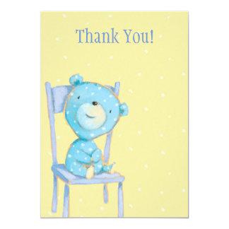 Obrigado azul do urso da chita você convite 12.7 x 17.78cm