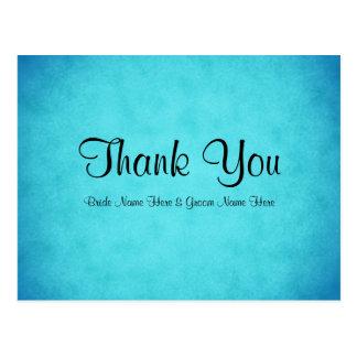 Obrigado azul e preto do casamento você cartão postal