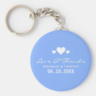 Obrigado azul macio do casamento dos queridos você chaveiro