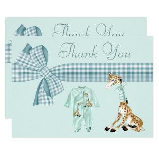 Obrigado bonito do chá de fraldas do menino azul convite 8.89 x 12.7cm