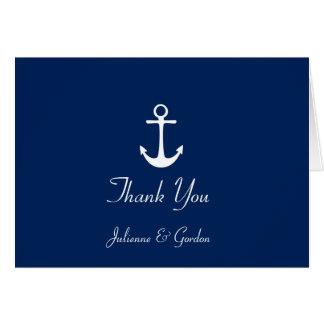 Obrigado branco das listras dos azuis marinhos cartão de nota