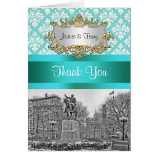 Obrigado branco do damasco 443 NYC do Aqua Cartão De Nota