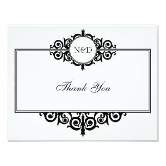 Obrigado branco preto do monograma do rolo você convite 10.79 x 13.97cm