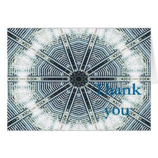 Obrigado caleidoscópio branco azul do cartão de