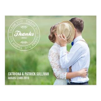 OBRIGADO CARIMBA o OBRIGADO pipe% WEDDING de 2014% Cartão Postal