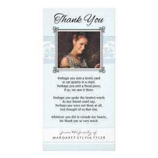 Obrigado cartão com fotos azul & branco da luz