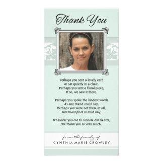 Obrigado cartão com fotos verde & branco da luz